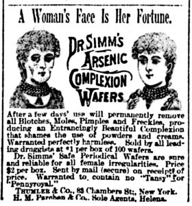 A old newspaper article advertising arsenic complexion wafers