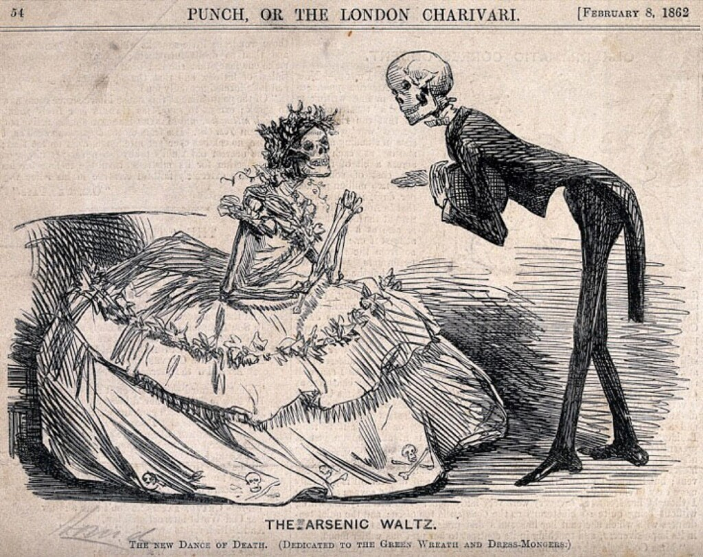 "two skeletons from a newspaper clipping, captioned ""The Arsenic Waltz"""