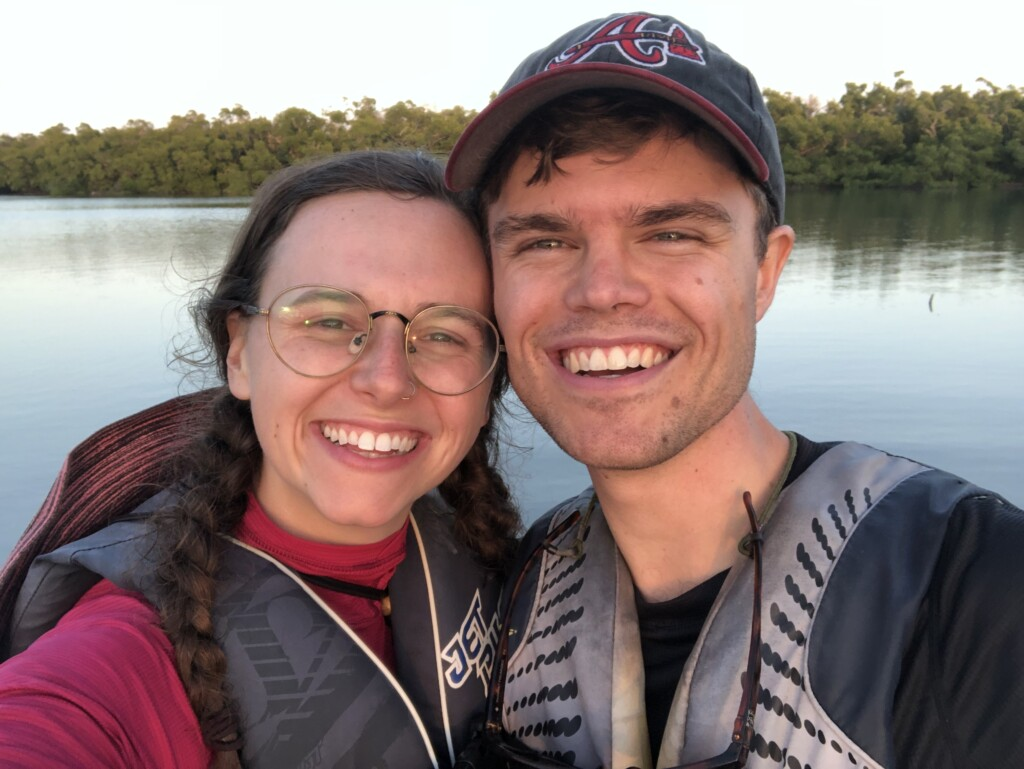 jon and abigail smiling in a selfie